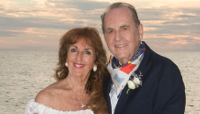 Sheila Bohon and Ed Bohon on beach wedding