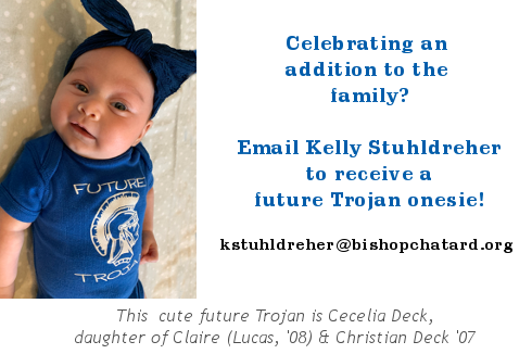 Email Kelly Stuhldreher to receive a Trojan onesie for you newborn