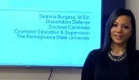 Deanna Burgess at her dissertation